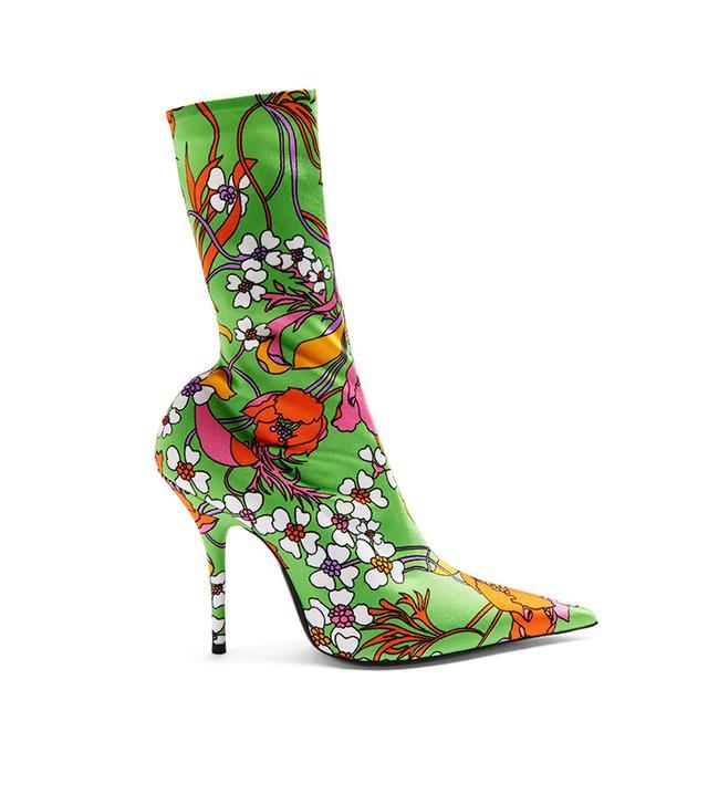 Balenciaga Knife Floral-Print Jersey Sock Boots