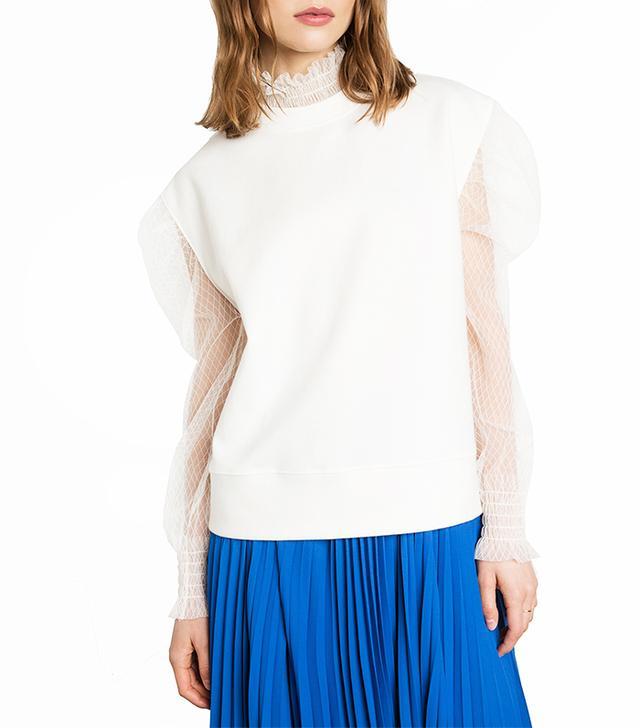 Pixie Market Ivory Fishnet Sleeve Sweatshirt