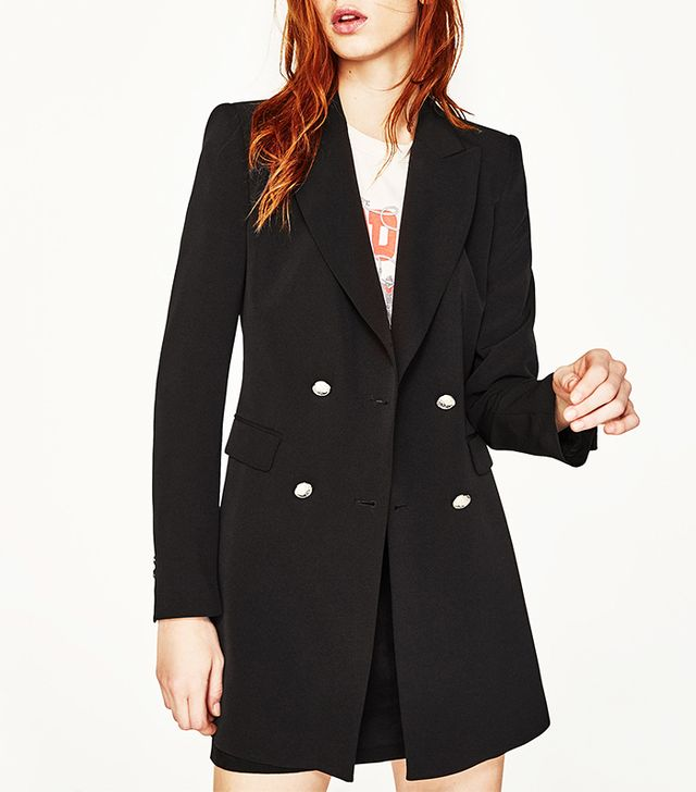 Zara Double-Breasted Jacket With Button Fastening