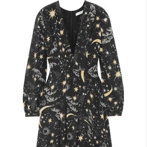 Camellia Pleated Printed Silk Crepe de Chine Midi Dress