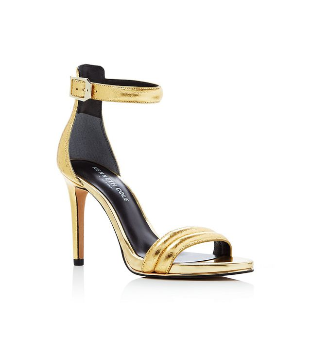 Kenneth Cole Brooke Metallic Snake Embossed Ankle Strap Sandals
