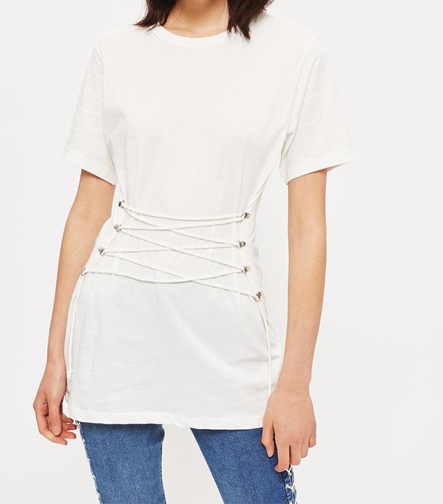 Topshop Longline Corset T-Shirt