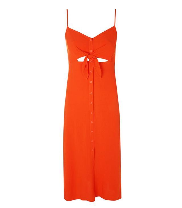 Topshop Knot Front Midi Slip Dress