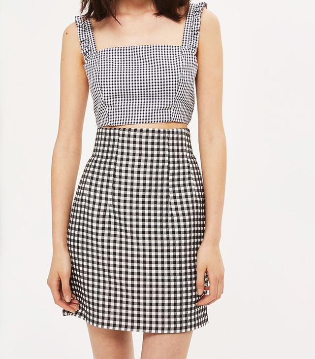 Topshop Gingham Mini Skirt