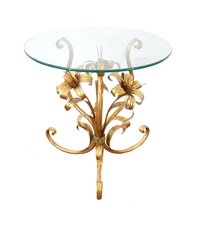 Vintage German Brass and Glass Side Table