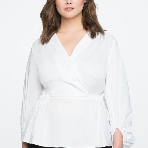 Wrap-Front Puff Sleeve Top