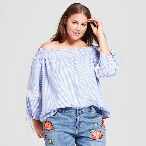Plus-Size Lace Mix Bardot Top