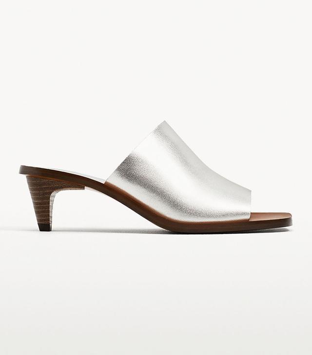 Best kitten-heel mules: Zara Silver-Toned Sandals
