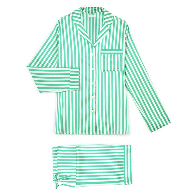 Sleep deprivation: Yolke Emerald King Stripe Stretch Silk Pyjama Set Emerald