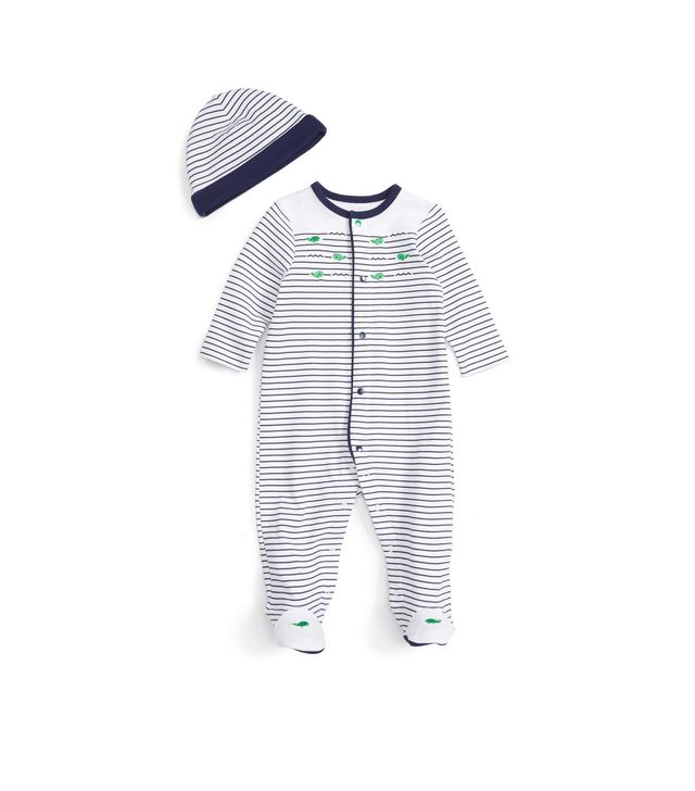 Little Me Whale Stripe Footie and Beanie Set