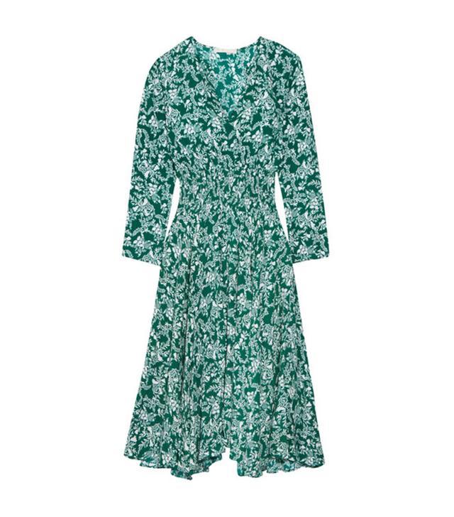 Maje Rayelle Shirred Floral-Print Crepe Midi Dress