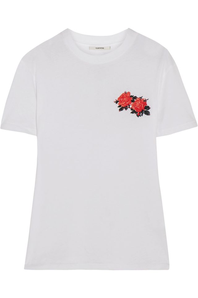 Ganni embroidered rose t-shirt