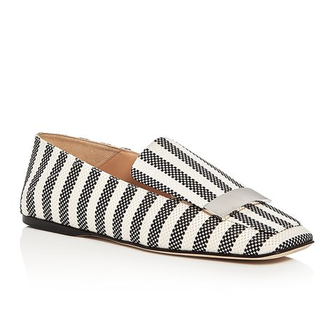 Sr1 Square Toe Loafer Flats in Black/White