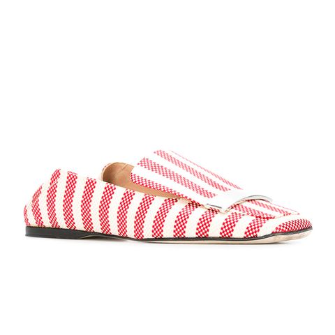 Striped Loafers in Poppy Red