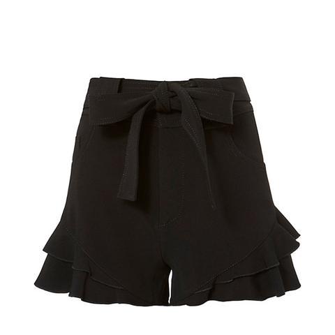 Black Crepe Ruffle Shorts