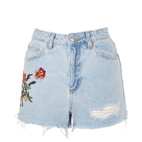Moto Flower Embroidered Denim Mom Shorts