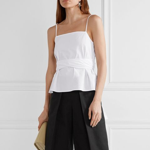 Montgomery Wrap-Effect Stretch-Cotton Top