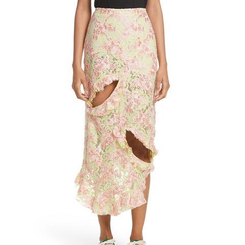 Cutout Lace Midi Skirt