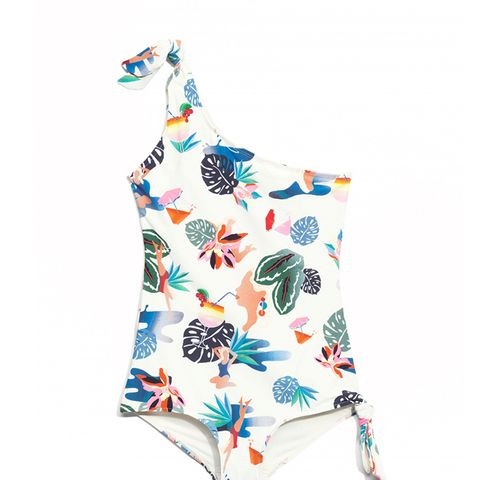 One Shoulder Knot Swimsuit