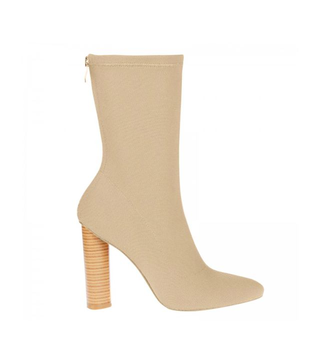 Ego Anushka Knit Ankle Boot With Wooden Heel in Beige