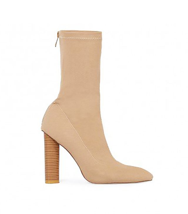 Public Desire Emily Sock Fit Stretch Boot in Nude