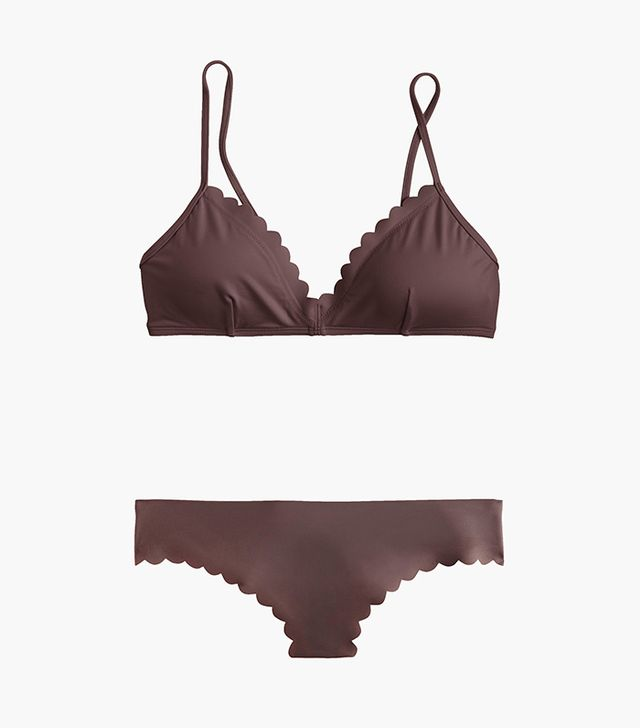 J.Crew Scalloped French Bikini Top and Bottom in Italian Matte
