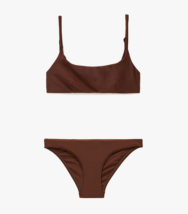 Matteau Swim Crop Top and Classic Brief in Cocoa