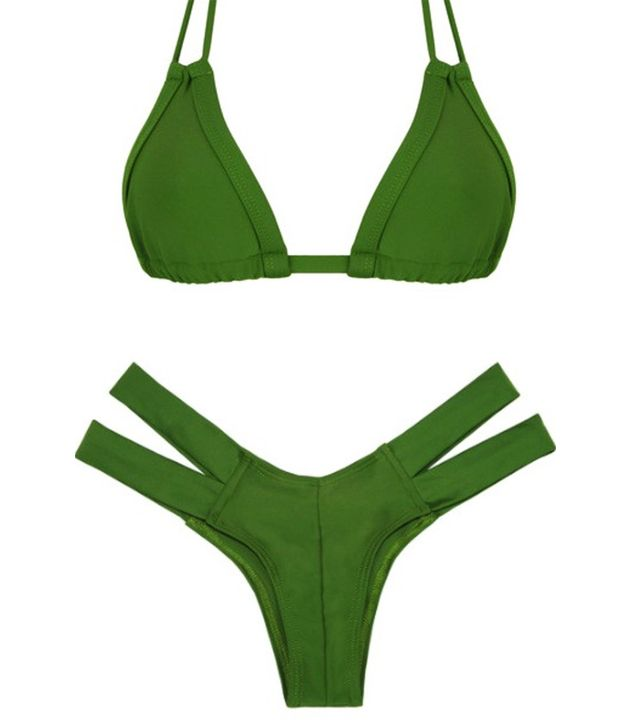 Montce Olive Euro  Tassels Bikini Top and Bottom