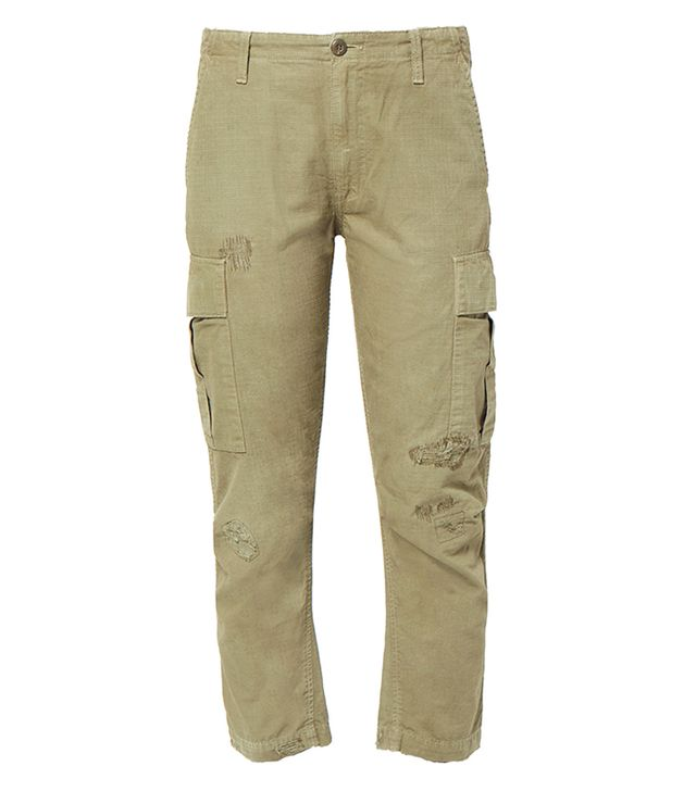 Re/Done Originals Cargo Pants in Army Green