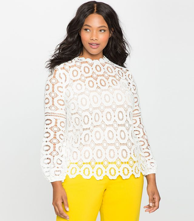 Eloquii Studio Logn Sleeve Crochet Lace Blouse