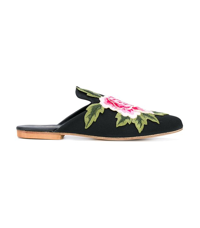 Gia Couture Embroidered Flower Mules