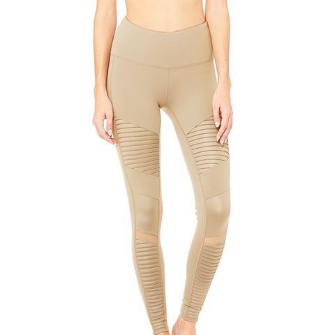 High-Waist Moto Leggings in Gravel/Gravel Glossy