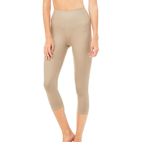 High-Waist Airbrush Capri Legging  in Gravel Glossy