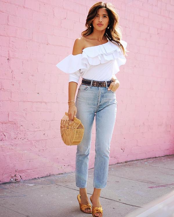 One-Shoulder Top + Jeans + Slides