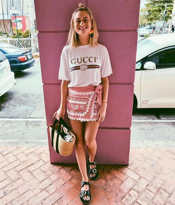 Graphic T-Shirt + Miniskirt + Sandals