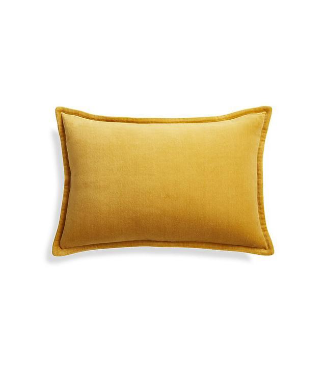Crate and Barrel Brenner Yellow Lumbar Pillow