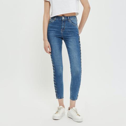 Mid Blue Side Lace Jamie Jeans