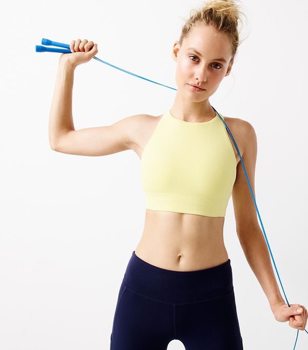 high neck bralette outfit - New Balance for J. Crew Performance Crop Top