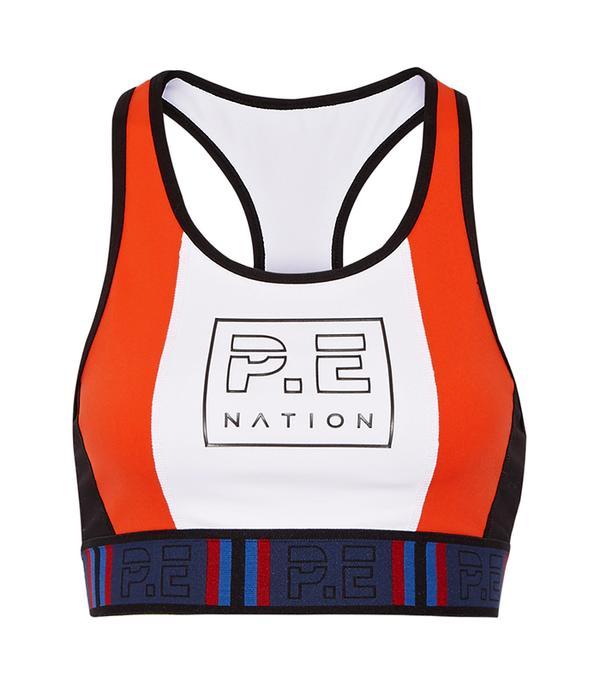 high neck bralette outfit - P.E. Nation Hybrid Check Bra