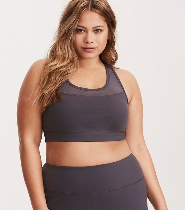 high neck bralette outfit - Torrid Active Mesh Inset Crossback Sports Bra