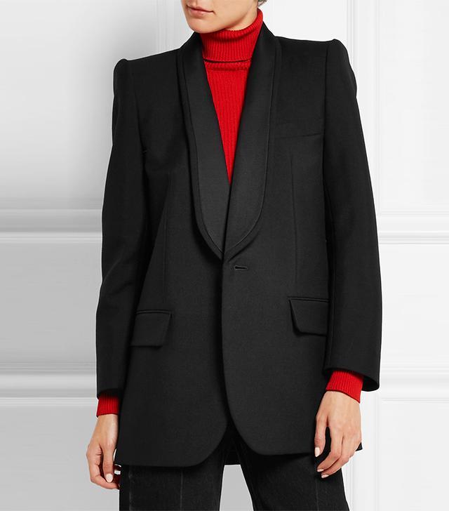 Balenciaga Epaule Couture Wool and Mohair-Blend Tuxedo Blazer