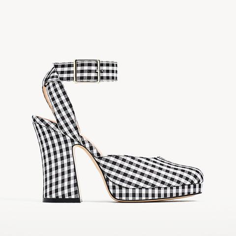 Gingham High Heel Platform Shoes Zara