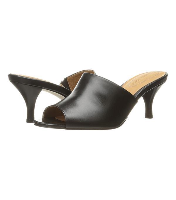 most comfortable black high heel sandals