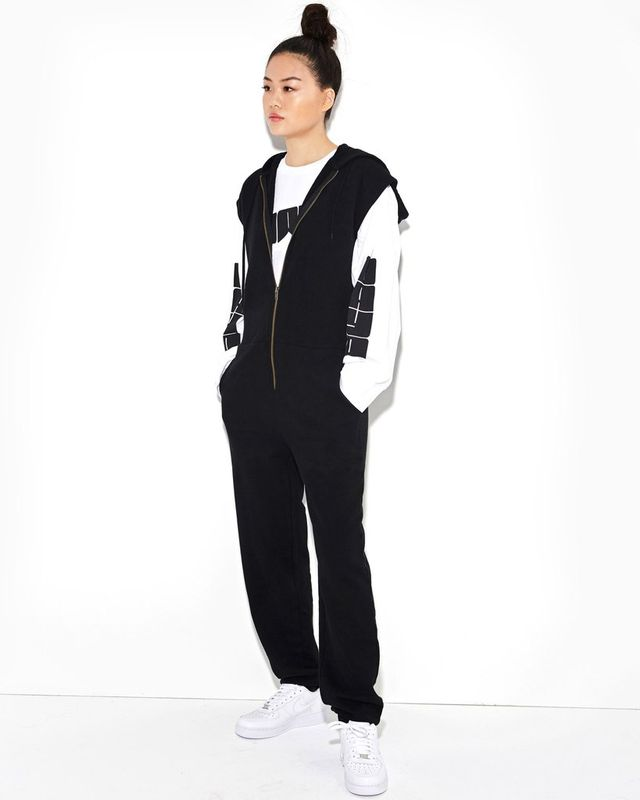 Daya by Zendaya Black Zip-Up Sweatshirt Jumpsuit With Hood