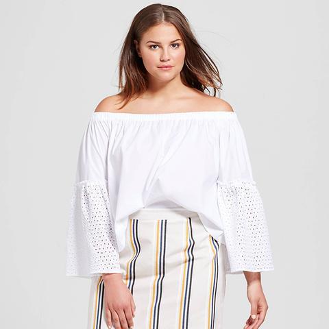 Plus Size Bardot Bell Sleeve Top