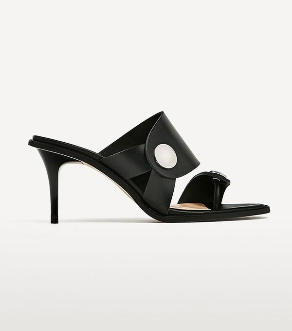 cute summer sandals - Zara Medium Heel Leather Sandal