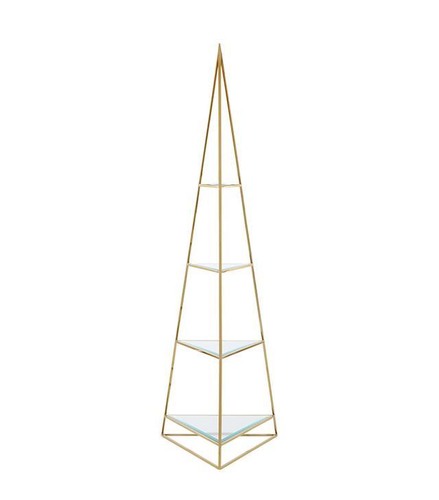 CB2 Pyramid Brass Etagere
