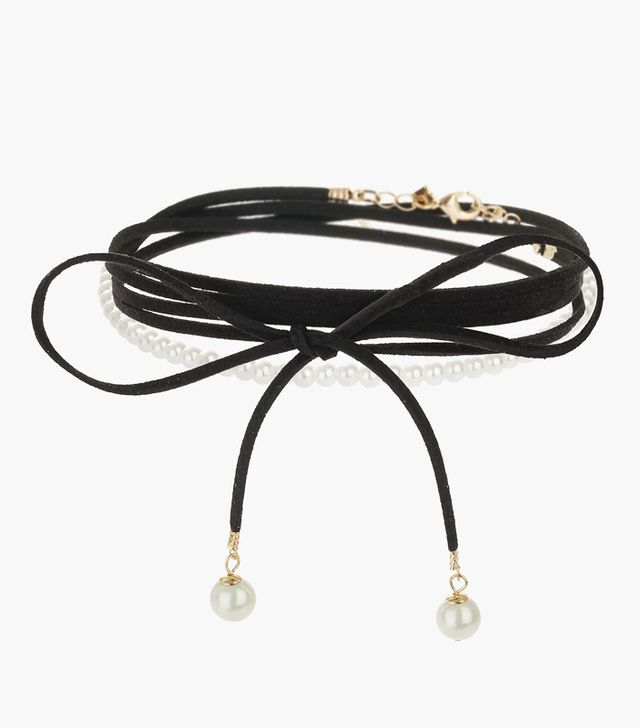 Topshop Pearl Tie Choker Necklace Multipack