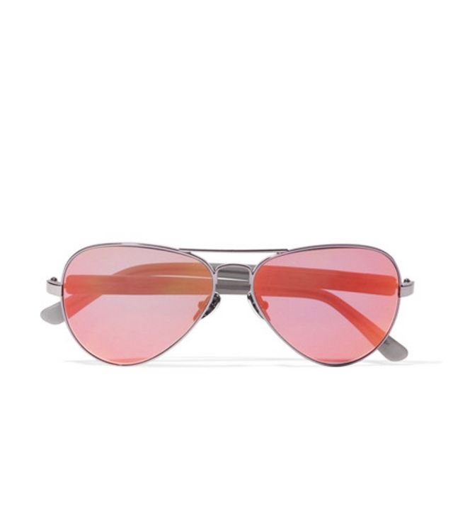Westward Leaning Concorde 14 Aviator-Style Acetate and Gunmetal-Tone Mirrored Sunglasses