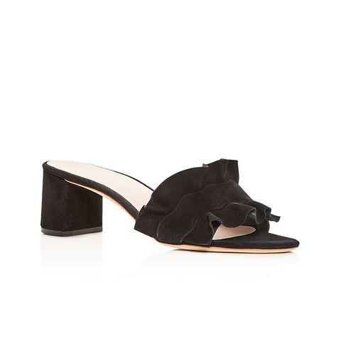 Vera Ruffle Block Heel Slide Sandals